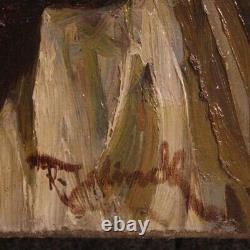 Tableau ancien peinture huile sur toile italien signé scène d'intérieur 800