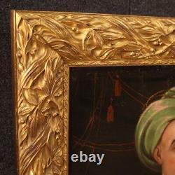 Tableau ancien peinture huile sur toile orientale personnages 800 19ème siècle