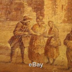 Tableau ancien peinture huile sur toile paysage avec personnages avec cadre 800