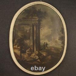 Tableau ancien peinture huile sur toile paysage cadre 700 18ème siècle