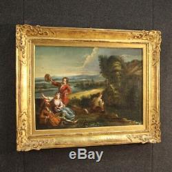 Tableau ancien peinture huile sur toile paysage romantique personnages cadre