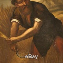 Tableau ancien peinture huile sur toile personnage art 700 XVIIIème siècle