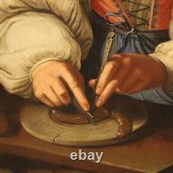 Tableau ancien peinture huile sur toile portrait cadre doré 700 XVIIIème siècle
