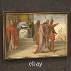 Tableau ancien peinture huile sur toile religieux 800 19ème siècle cadre