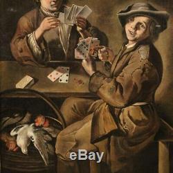 Tableau ancien peinture huile sur toile scène d'intérieur joueurs de cartes 700