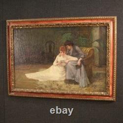Tableau ancien peinture huile sur toile scène d'intérieur signé avec cadre 800