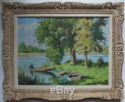 Tableau ancien peinture huile / toile marais poitevin barques cadre Montparnasse