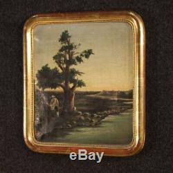 Tableau ancien peinture italienne paysage huile sur toile cadre chasseur 800