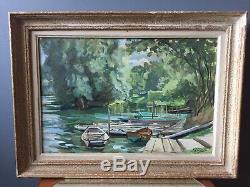 Tableau ancien peinture marais poitevin barques gouache 1940 1950
