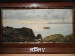 Tableau ancien peinture marine Maurice Lucien PROUST Bretagne port breton océan