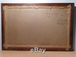 Tableau ancien peinture marine Maurice PROUST pointe du Raz Bretagne mer océan