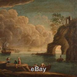 Tableau ancien peinture marine paysage cadre huile sur toile 700 18ème siècle