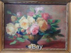 Tableau ancien peinture nature morte J ROZIER bouquet fleur rose