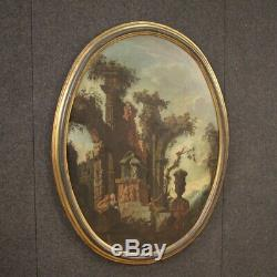 Tableau ancien peinture ovale paysage ruines personnages huile sur toile 700