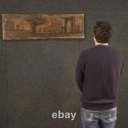 Tableau ancien peinture paysage avec architectures huile sur toile 800