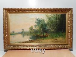 Tableau ancien peinture paysage campagne bord rivière personnage gout Barbizon 1
