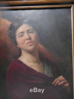 Tableau ancien peinture portrait femme personnage