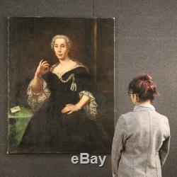 Tableau ancien peinture portrait noble XVIIIème siècle 700 huile sur toile