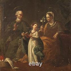 Tableau ancien peinture religieuse huile sur toile 700 18ème siècle art sacré