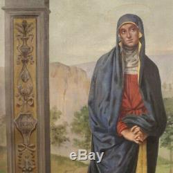 Tableau ancien peinture religieuse huile sur toile cadre crucifixion Pérugin