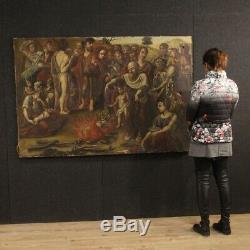 Tableau ancien peinture religieuse scène biblique art sacré huile sur toile 700