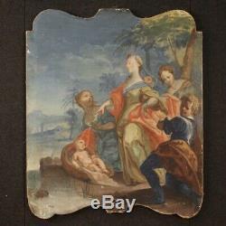 Tableau ancien peinture religieuse toile Moïse sauvé des eaux 800 18ème siècle