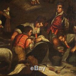 Tableau ancien peinture scène pastorale huile sur toile Bassano 18ème siècle