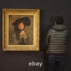 Tableau ancien peinture signé portrait huile sur toile femme belle époque