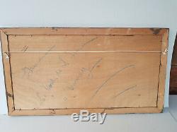 Tableau ancien peinture sur panneau P Gobert Les bords de l' Isere Veurey
