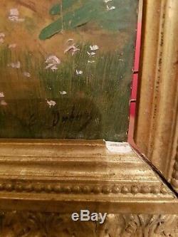 Tableau ancien peinture sur panneau, femme et angelot XIX ème s