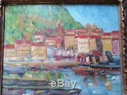 Tableau, ancien, port marine, Espagne, pays basque, côte Basque, St Sébastian, 1918
