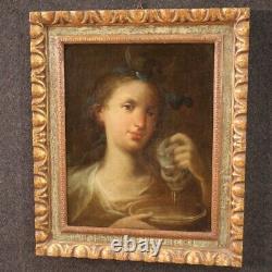 Tableau ancien portrait Diane peinture huile sur toile cadre 700 18ème siècle