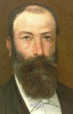 Tableau ancien, portrait d'homme barbu XIX°, signé A. CAUSSE