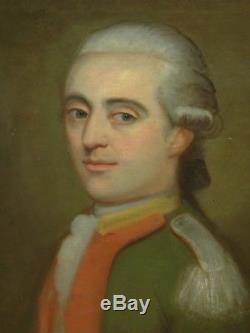 Tableau ancien, portrait d'homme fin XVIII°, Officier de la Garde de Paris