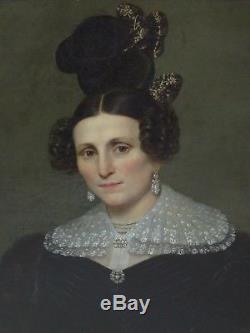 Tableau ancien, portrait de femme coiffe dentelle, Alphonse LAVAUDEN (1796-1857)