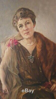 Tableau ancien portrait de femme, signé Henry Mottez, huile sur toile