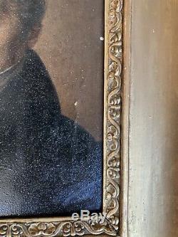 Tableau ancien portrait homme romantique signé Espérandieu huile XIXè peinture