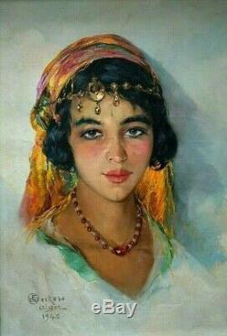 Tableau ancien portrait orientaliste femme Algéroise signé Emile Deckers 1940