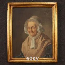 Tableau ancien portrait vieille femme peinture huile sur toile cadre 800
