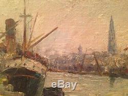 Tableau ancien post impressionniste Port de Rouen Bateau Ecole de Rouen signé