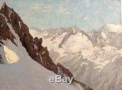 Tableau ancien proche Joseph Victor COMMUNAL Montagne Aiguille du Dru Huile