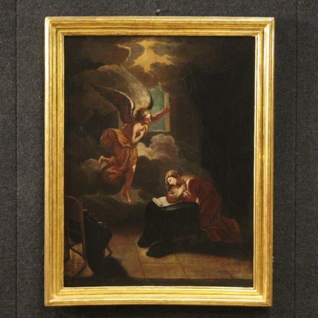 Tableau Ancien Religieux Annonciation Peinture Huile Sur Toile Art Sacré Xviii
