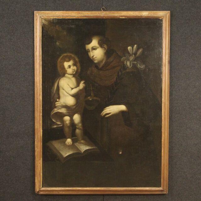 Tableau Ancien Religieux Peinture Huile Sur Toile Saint Antoine Xviiième Siècle