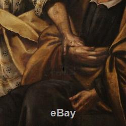 Tableau ancien religieux peinture huile sur toile art sacré 700 XVIIIème siècle