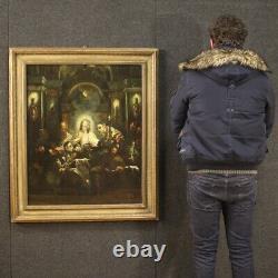 Tableau ancien religieux peinture huile sur toile avec cadre 700 18ème siècle