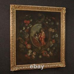 Tableau ancien religieux peinture nature morte fleurs huile sur toile cadre 700