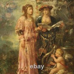 Tableau ancien scène romantique personnages peinture huile sur toile 800