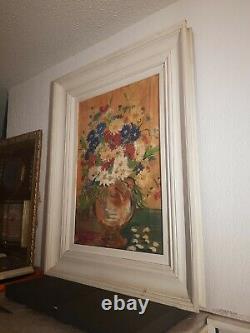 Tableau ancien signé. Bouquet de fleurs fleuries. Peinture huile sur panneau