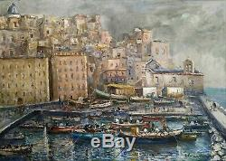 Tableau ancien signé Huile sur toile Paysage marine Peinture italienne HST