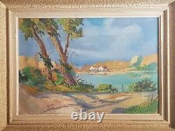Tableau ancien signé. Paysage Bord de rivière. Peinture huile sur panneau